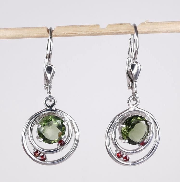 Faceted Moldavite Round Cut Garnet Sterling Silver Earrings (3.4grams)