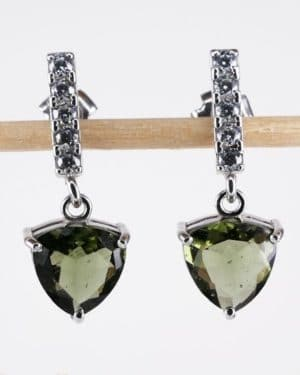 Authentic Moldavite Trill cut with cubic Zirconia (3.0grams)