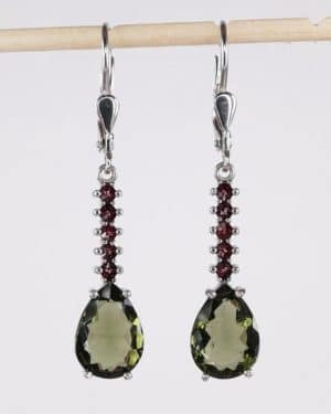 Beautifil Pear Cut Moldavite Earrings with Certificate of Authenticity (3.5grams)