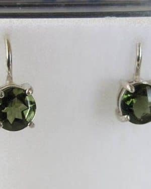 Faceted Round Sterling Silver Moldavite Earrings (1.60grams)
