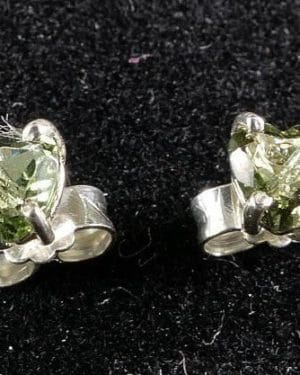 Heart Cut Faceted Moldavite Stud Earrings (0.6grams)
