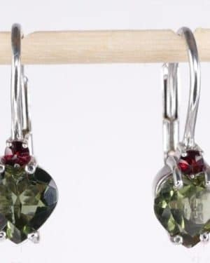 Heart Shape High Quality Grade Faceted Moldavite Earrings (1.6grams) 5