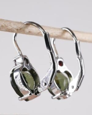 Heart Shape High Quality Grade Faceted Moldavite Earrings (2.5grams)