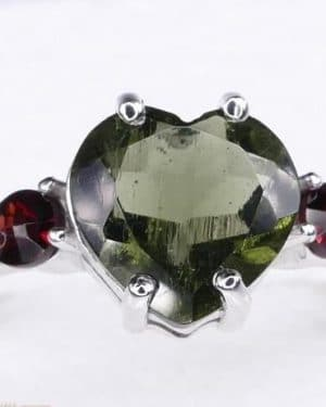 High Quality Faceted Moldavite Heart Shape Ring with Red Zircon