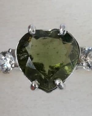 High Quality Faceted Moldavite Heart Shape with Zircon Ring
