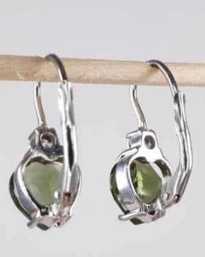 High Quality Moldavite with Cubic Zirconia Earrings with Certificate of Authenticity (2.5grams)