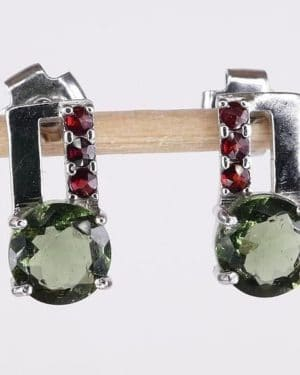 Sterling Silver with Garnets Moldavite Earrings (2.0grams)