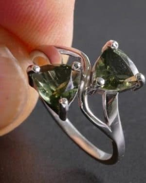Authentic Double Faceted Moldavite (2.0grams) ring size 54 (USA 7)