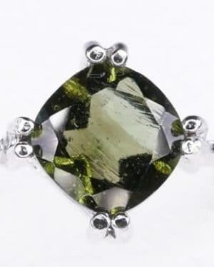 Unique High Quality Faceted Moldavite Ring (2.9grams) size 58 (US 8.5)