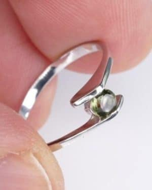 Faceted Round Moldavite Ring (1.2grams) Ring Size: 52 (6.25 US)
