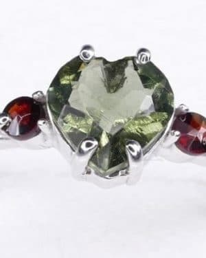 High Quality Faceted Moldavite Heart Shape Ring with Red Zircon (1.9grams) Ring Size: 56 (7.75 US)