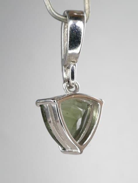 Trill Shape Moldavite Pendant with Cubic Zirconia (1.3grams)