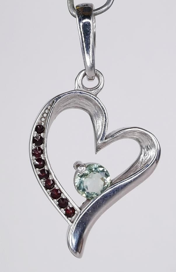 Heart Shape Faceted Moldavite Pendant With Red Cubic Zirconia with Certificate of Authenticity (4.0grams)