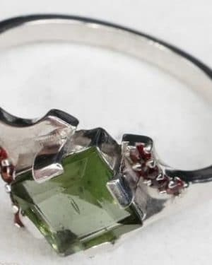 Authentic Diamond Shape Moldavite Ring with Garnet (2.4grams) size 55 (USA 7 1/2)