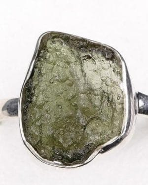 Raw Moldavite Ring (2.7grams) size 54 (USA 7)