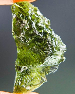 Glossy Moldavite with Two Kinds of Sculpture (2.82grams) 1