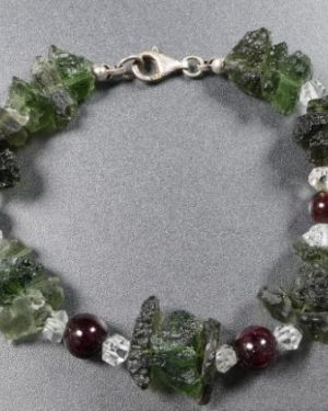 Unique Raw Moldavite with Herkimmer Diamond and Garnet Sterling Silver (20.9grams) 1
